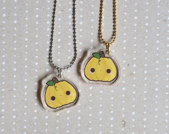 Kawaii Pumpkin Acrylic Charm Necklace- Halloween Jewelry Collection