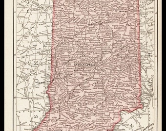 Small Indiana Map of Indiana State Map (1900s Wall Decor Print, Antique Color Map, Old Wall Art) Vintage Atlas Map No. 47-2