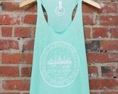 Racerback SUPER SOFT Vintage Feel Tank - Cleveland 'City Seal' on TriBlend Mint Green