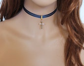 Gold Cross Choker, Blue Choker, Dainty Necklace, Thin Choker Necklace, Everyday Jewelry