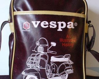 Vintage Vespa Vinyl Motorcycle Messenger Bag