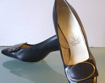 Vintage Black Leather Naturalizer Pilgrim Buckle Heels 7.5b