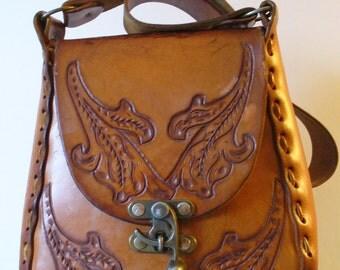 Vintage Bohemian Tooled Leather Shoulder Bag
