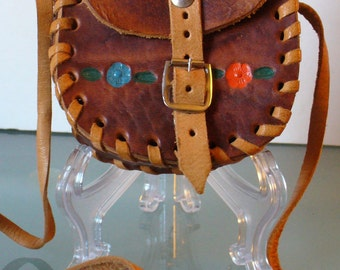 Vintage Bohemian Tooled Leather Pouch