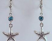 Sterling silver & Blue Topaz Starfish Earrings