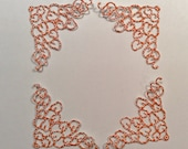 """Handmade, Dainty Corner Embellishments, Orange with Design, Sizzix, 1 1/4"""" tall and 2"""" wide, Scrapbook, Cards"""