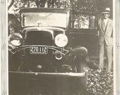 Indiana License Plate - Vintage Photo - Old Car - Ford Model A - Man Wearing Fedora - Antique Photo - Snapshot