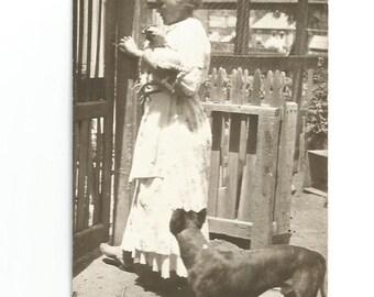 Boxer Dog and the Hen - Vintage Photo - Dog Photo - Chicken - Farm - Snapshot - Victorian Dress - Found Vernacular Photo - Snapshot