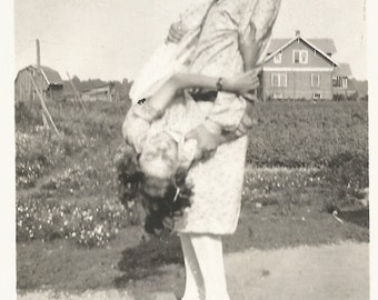 Vintage Photo - Motion Blur Action - Mother and Daughter Playing - Found Vernacular Snapshot