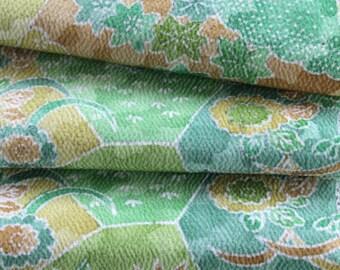 Kimono Silk Fabric, Japanese Kimono Silk, Green Fabric, Geometric Fabric, Green Kimono Silk, Silk Chirimen Crepe