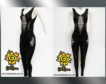 "C-1000  Womens / Junior Shredded, Weaved Sexy Black Catsuit ""DARING BEAUTY"" Aerial Yoga Wear, Burning Man Wear, One Piece, Festival Wear"