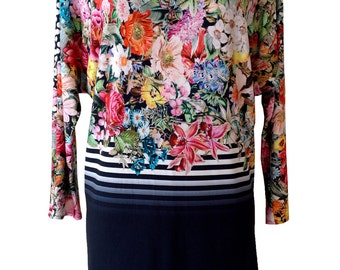 Floral Shirt, Navy Blue, Long Sleeve Oversize Tunic Shirt, Plus Size Shirt, Bat Sleeves, Designer Shirt, Floral Print, Women Shirt
