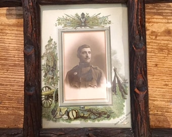 Black Forest Frame with Soldier Photo and colorful matting  1915 ca