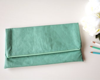 Aquamarine clutch, vegan leather clutch, blue purse,faux leather clutch, leather clutch,aquamarine bag,gifts for her,bridesmaid clutch