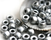 50pc Pony beads, Silver metallic, Czech glass Roller beads, 2mm large hole, round spacer beads - 6mm - 2562