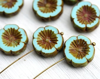 Turquoise Pansy beads, 14mm flower beads, czech glass picasso beads, daisy, Hawaiian Flower, table cut - 4Pc - 2423