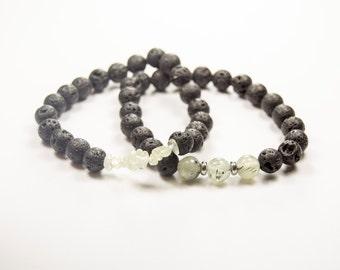 Willpower - Peace - Prehnite & Lava bead - Essential Oil diffuser bracelet