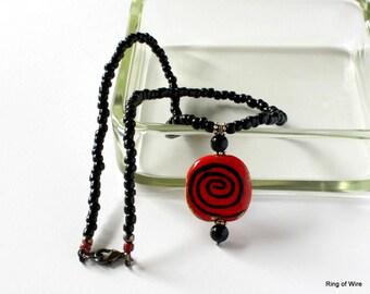 Red Kazuri Bead Necklace, Kazuri Bead Pendant, Black Bead Necklace, Ceramic Bead Necklace, Fair Trade Jewelry, Ceramic Bead Jewelry