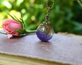 Real Preserved Purple Statice Flower Resin Orb Pendant with Antique Bronze