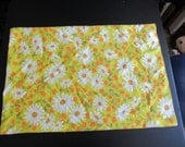 Vintage White and Yellow Daisy Hippie Pillow Case 30 x 20 inches