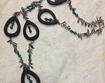 Onyx Tears with Onyx and Turquoise Bead Necklace