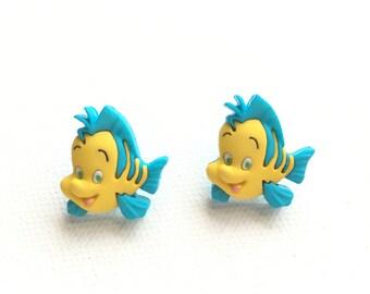 Flounder Stud Earrings, The Little Mermaid, Ariel's Friends, Disney Inspired, Cruise