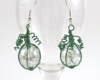 Green Wire Wrapped Fried Marble Earrings, Sparkly