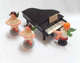 vintage Erzgebirge angel figurines with piano, Expertic,  Christmas decor, collectible, made in East Germany