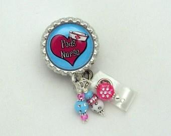 Pediatric Nurse Badge Reel - Peds Nurse Badge Clip - Pediatric ID Holders - Beaded Badge Reels - Designer ID Holders - Badge Reel Gifts