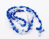 Knotted Cord Rosary - Blue and White - Hospital Safe and Great for Small Children, Baptism, First Communion, Confirmation Gift