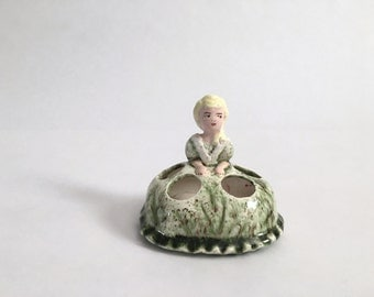 Vintage Porcelain Ceramic Lipstick Holder - Victorian Girl Blonde Lady