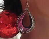 Peruvian Thread Earring, Thread Earring, Custom Handmade Earring, Pink, Black, Silver, Thread Earring, Indian Earrings. Teardrop Earring