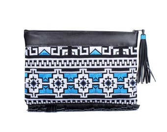 Embroidered Clutch With Black Leather Fringe Tassel (BG4999.31)