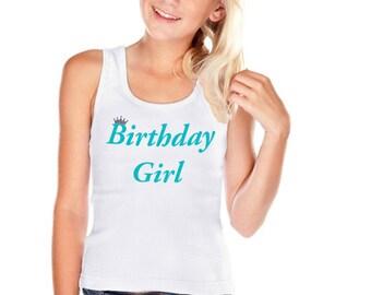 Birthday Girl Shirt Party T-Shirt White Blue Tee Tween Girl Teen Girl Birthday Shirt Personalized Name 2 3 4 5 6 7 8 9 10 11 12 13 14 16