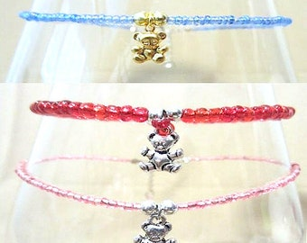 Trending Anklets with Seed Beads, Glass Beaded Anklet w/Teddy Bear Charm, Baby Shower Mommy to Be Gift Keepsake, Handmade Beaded Jewelry