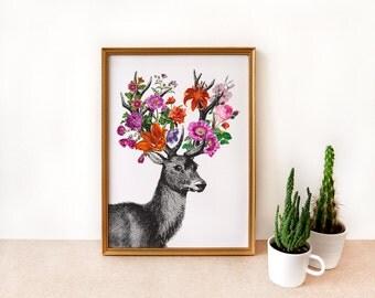 DEER and FLOWERS art print - archival art print digital - vintage deer engraving - A4