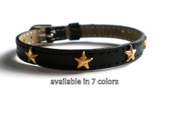 Black Genuine Leather Stud Bracelet  -   Gold Star Studs - 8mm Black Leather Strap -  AdjustableLayering bracelet
