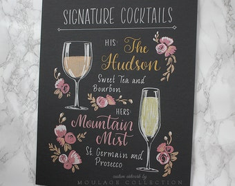 "Custom signature cocktail menu, 11""x14"" art board, floral ink drawing by hand"