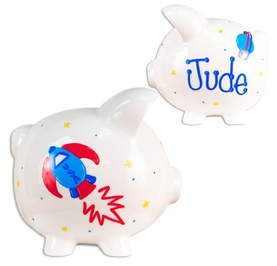 Personalized rocket planets piggy bank hand painted boys - Rocket piggy bank ...