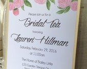 5 x 7 Pink & Gold Shimmer Peony Garland Custom Bridal Tea Invitation Double Layered with Envelope