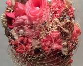 Fabric flower rustic shabby chic peach coral salmon bouquet