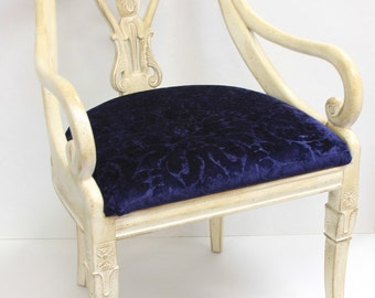 Pair of Carved Empire Chairs with New Navy Velvet Upholstery