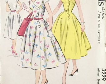 "Vintage 1955 McCall's Misses' Dress Pattern 3229 Size 14 (32"" Bust)"