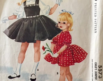"Vintage 1960 McCall's Girls' Dress Jumper Pattern 5573 Helen Lee Size 4 (23"" Chest)"