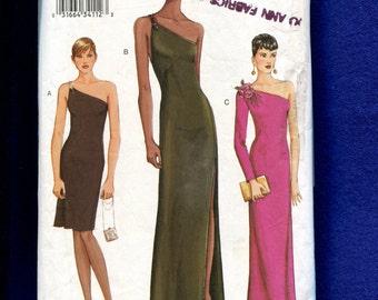 Vogue 7510 Sleek & Sultry One Shoulder Evening Dresses Size 8