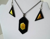 Fiery Earrings and Necklace Set - Copper dichroic Glass-  Abstract OOAK - Gold Black - Iridescent Pendent Jewelry - READY to SHIP
