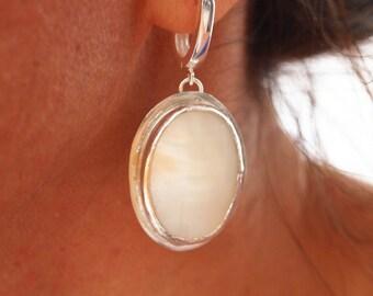 Silver White Stone Earrings, Creamy White Mother of Pearl Earring, Bezel Set Earring, Oval Gemstone, Fine & Sterling Silver, Handmade