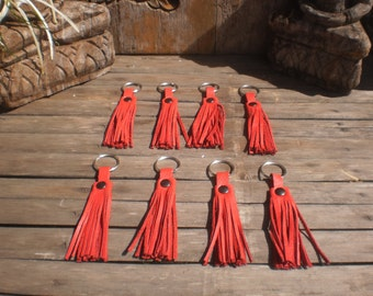 Set Of 8 Up Cycled Leather Key Chain Tassels Red Color