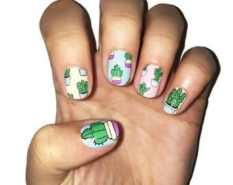 Succulent Pattern Nail Wraps. Cactus Nail Polish Strips.