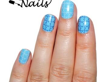 Autism Nail Wraps. Blue puzzle piece nail decals.